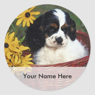 Puppy and Flowers in a Basket Bookplate Sticker