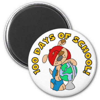 Puppy and Globe 100 Days of School Magnets