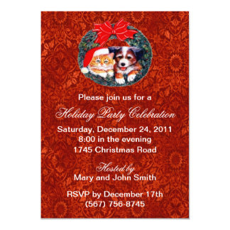 Puppy And Kitten Wreath Holiday Party Invitations