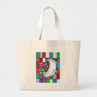 puppy bath time large tote bag