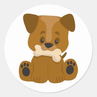 Puppy Big Paws Sitting Classic Round Sticker