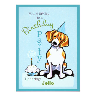 Puppy Birthday Party Beagle Boy Off-Leash Art™ Card