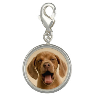 """Puppy Breath"" Chocolate Lab Puppy Photo Charm"