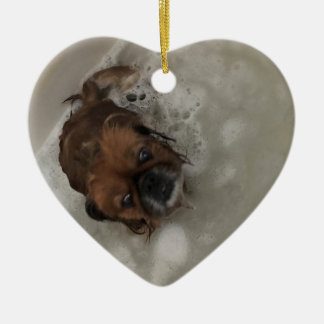 PUPPY BUBBLES CERAMIC ORNAMENT