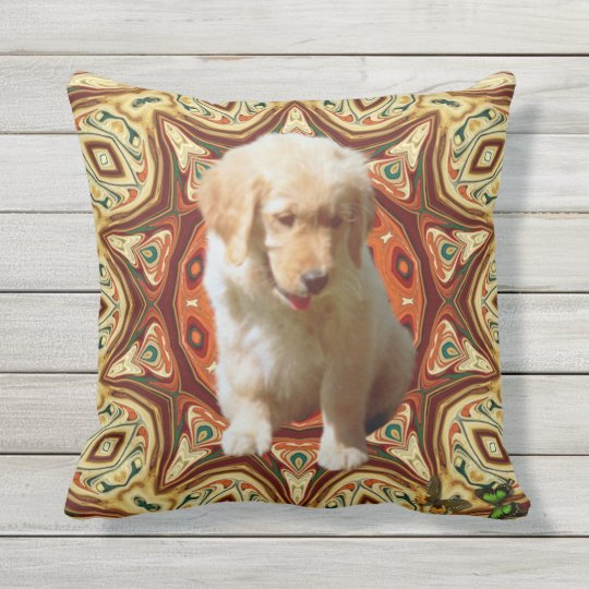Puppy & Butterflies. Throw Pillow