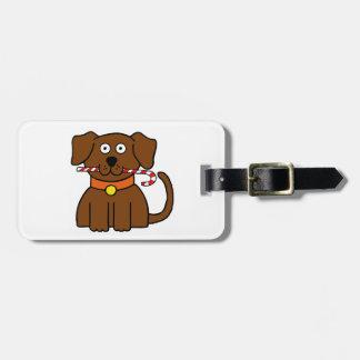Puppy Candy Cane Luggage Tag