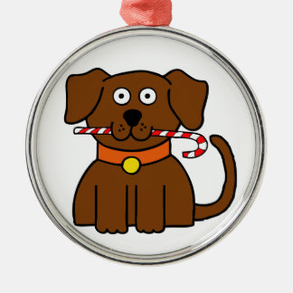 Puppy Candy Cane Silver-Colored Round Ornament