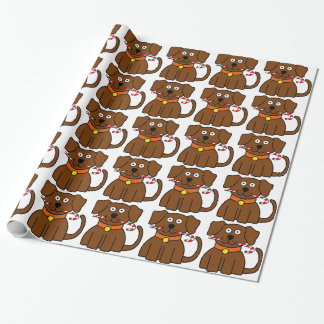 Puppy Candy Cane Wrapping Paper