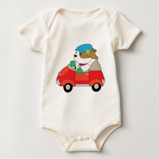 Puppy Car Baby Bodysuit