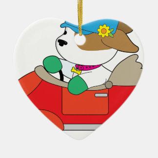 Puppy Car Ceramic Heart Ornament