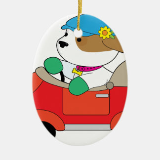Puppy Car Ceramic Oval Ornament