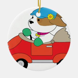 Puppy Car Round Ceramic Ornament