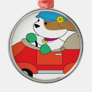 Puppy Car Silver-Colored Round Ornament