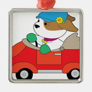 Puppy Car Silver-Colored Square Ornament