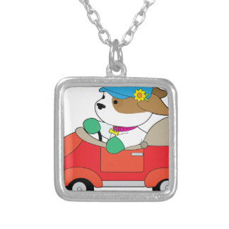 Puppy Car Silver Plated Necklace