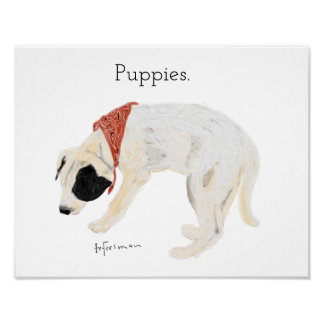 Puppy chalk painting on white sniffing ground poster
