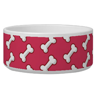 Puppy chow bowl cartoon bone print hot pink