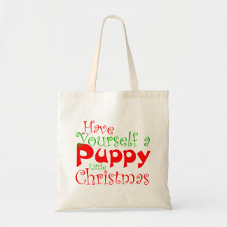 Puppy Christmas Holiday Tote Bag