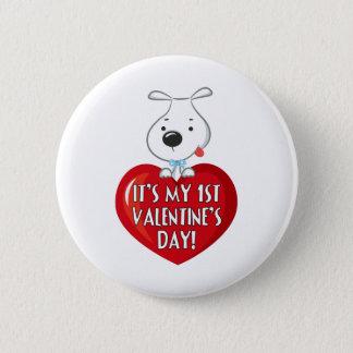Puppy Dog 1st Valentines Day 2 Inch Round Button