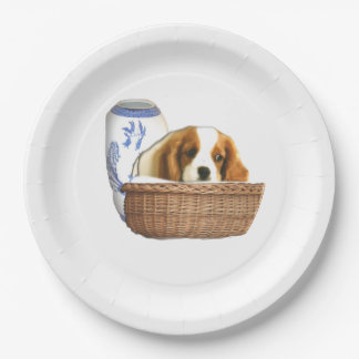 Puppy dog and basket paper plate
