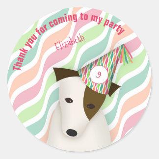 puppy dog child's girl's pink birthday party classic round sticker