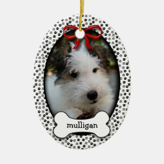 Puppy Dog Commemorative Rememberance OR Christmas Ceramic Oval Ornament