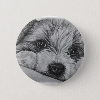 Puppy Dog Drawing of Cute Animal Art 2 Inch Round Button