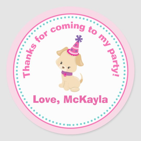 Puppy Dog Girl Birthday Party Favour Tag Sticker