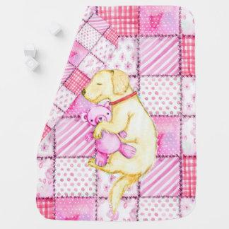 PUPPY DOG, PINK PUPPY SLEEPING WITH TEDDY BEAR. BABY BLANKET