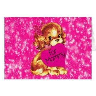 Puppy Dog Valentine for Mommy Fuschia Stars Card
