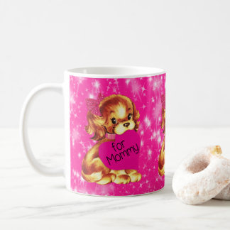 Puppy Dog Valentine for Mommy Fuschia Stars Coffee Mug