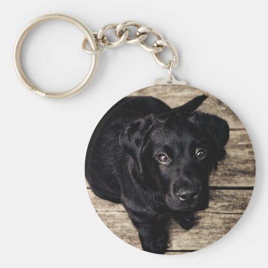 Puppy Eyes Basic Round Button Keychain