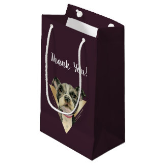 """Puppy Eyes"" Pit Bull Dog Painting 4 Thank You Small Gift Bag"