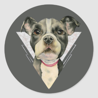 """Puppy Eyes"" Pit Bull Dog Watercolor Painting 2 Classic Round Sticker"