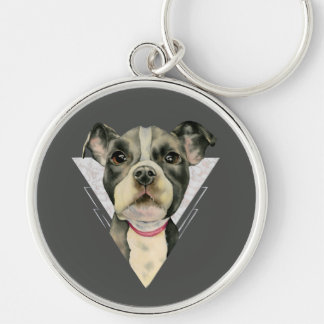 """""""Puppy Eyes"""" Pit Bull Dog Watercolor Painting 2 Keychain"""