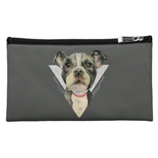 """Puppy Eyes"" Pit Bull Dog Watercolor Painting 2 Makeup Bag"