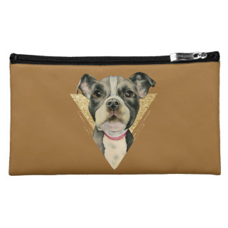 """Puppy Eyes"" Pit Bull Dog Watercolor Painting 3 Cosmetic Bag"