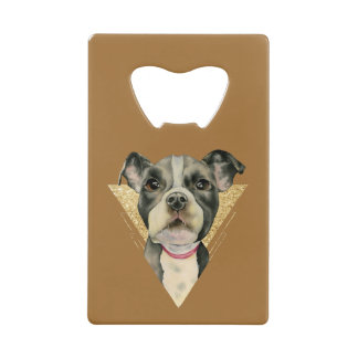 """""""Puppy Eyes"""" Pit Bull Dog Watercolor Painting 3 Credit Card Bottle Opener"""