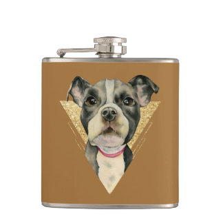 """""""Puppy Eyes"""" Pit Bull Dog Watercolor Painting 3 Hip Flask"""