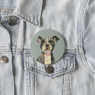 """""""Puppy Eyes"""" Pit Bull Dog Watercolor Painting 3 Inch Round Button"""