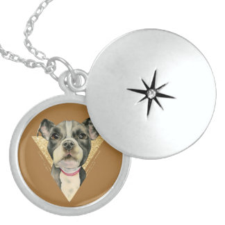 """Puppy Eyes"" Pit Bull Dog Watercolor Painting 3 Locket Necklace"