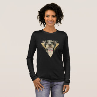 """""""Puppy Eyes"""" Pit Bull Dog Watercolor Painting 3 Long Sleeve T-Shirt"""