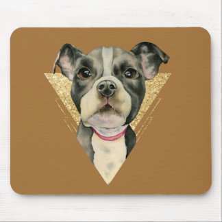 """Puppy Eyes"" Pit Bull Dog Watercolor Painting 3 Mouse Pad"