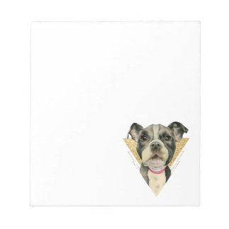 """""""Puppy Eyes"""" Pit Bull Dog Watercolor Painting 3 Notepad"""