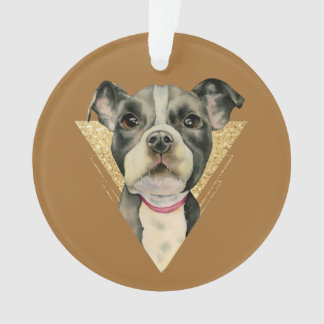 """Puppy Eyes"" Pit Bull Dog Watercolor Painting 3 Ornament"