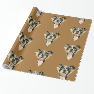 """Puppy Eyes"" Pit Bull Dog Watercolor Painting 3 Wrapping Paper"