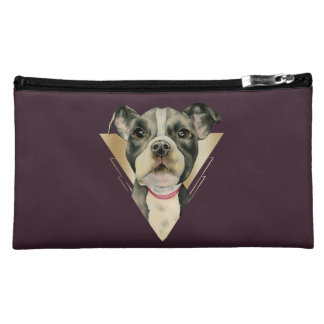 """""""Puppy Eyes"""" Pit Bull Dog Watercolor Painting 4 Cosmetic Bag"""