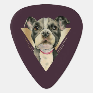 """""""Puppy Eyes"""" Pit Bull Dog Watercolor Painting 4 Guitar Pick"""