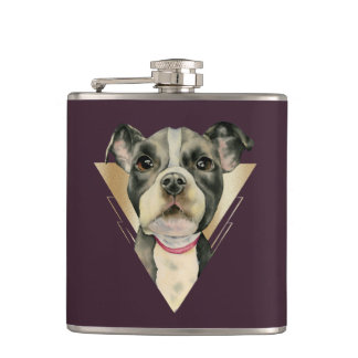 """""""Puppy Eyes"""" Pit Bull Dog Watercolor Painting 4 Hip Flask"""