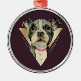 """Puppy Eyes"" Pit Bull Dog Watercolor Painting 4 Metal Ornament"